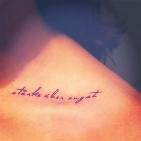 """""""strength over fear"""" in German (my family's language) on"""