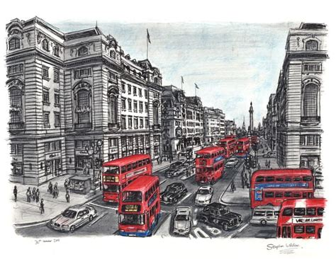Lower Regent str with red double decker buses Lim