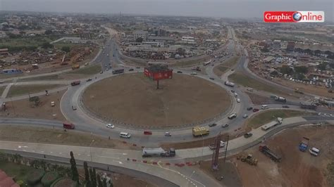 Aerial view of Tema Motorway roundabout opened to traffic