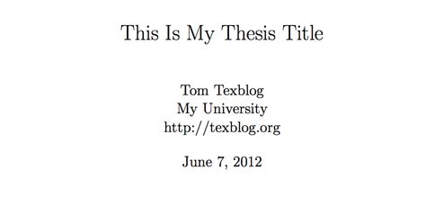 Writing a thesis in LaTeX – texblog