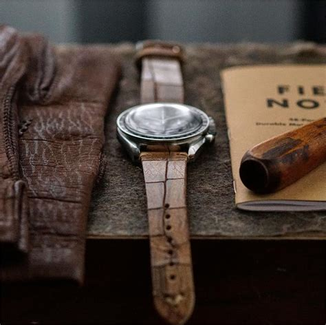 20mm Classic Vintage Watch Band Whiskey Croco Leather | B