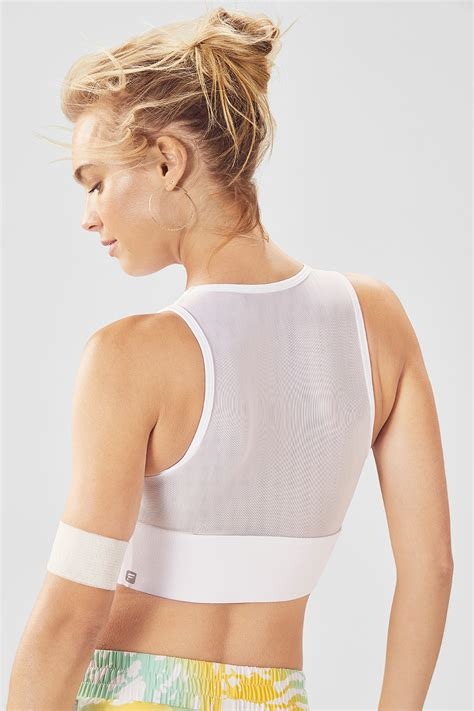Clare Midi Sports Bra in white - Get great deals at Fabletics