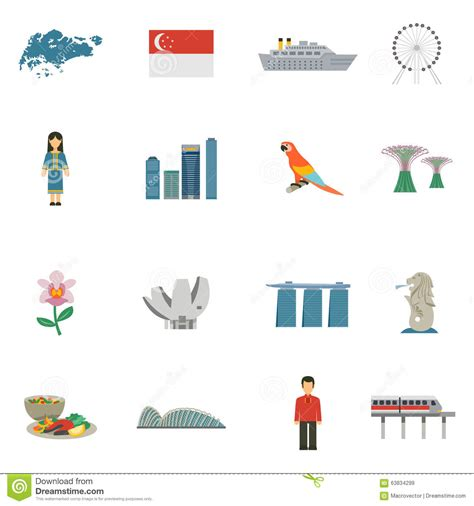 Singapore Culture Flat Icons Set Stock Vector - Image