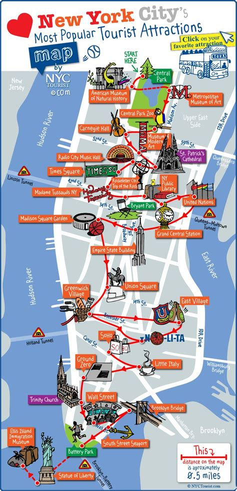 Tourist map of New York City attractions, sightseeing