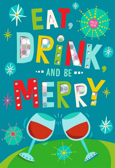 Eat Drink and Be Merry Musical Christmas Card - Greeting