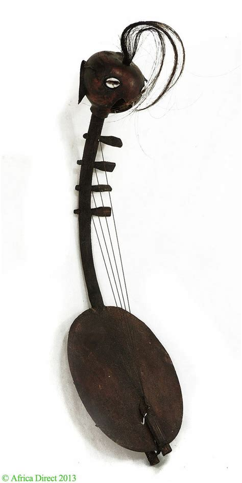 Harp with 4 Strings Musical Instrument Gourd African