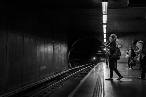 Free Images : black and white, metro station, train