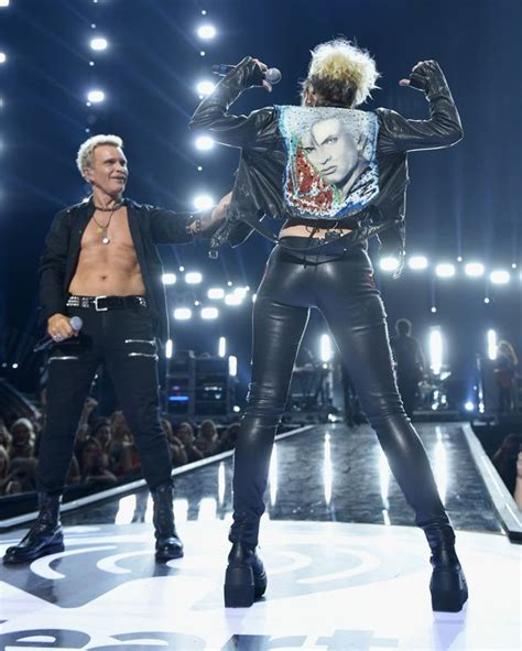 Miley Cyrus and Billy Idol rock leather jackets as they