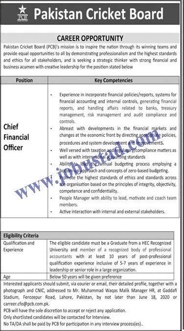 Chief Financial Officer Jobs in PCB Pakistan Cricket Board